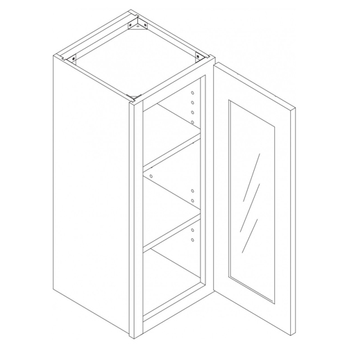 "Shaker White Wall Mullion Door Cabinet - 21"" W x 36"" H x 12"" D"